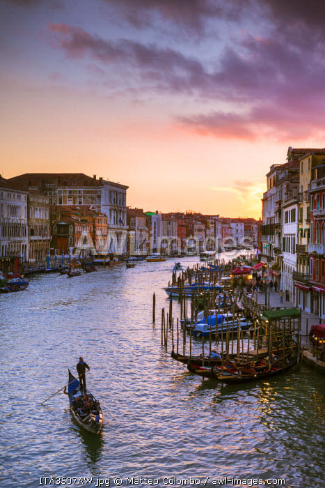 Italy, Veneto, Venice. Grand canal at sunset from Rialto bridge