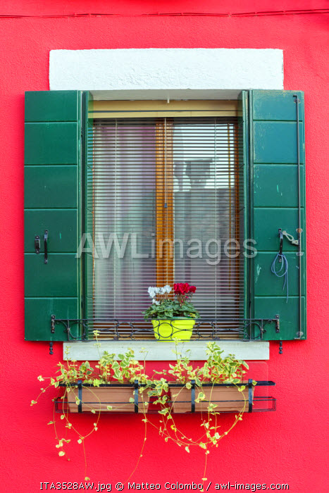 Italy, Veneto, Venice, Burano. Typical window on a colorful house