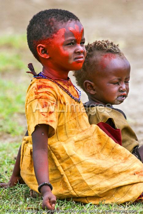 Africa, Kenya, Narok County, Masai Mara. Maasai children