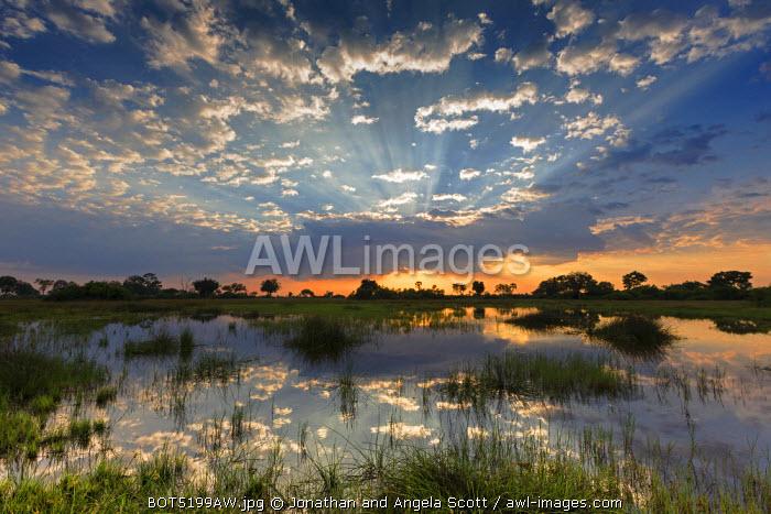 Africa, Botswana, Okavango Delta, Duba Plains. Sunset over the Okavango Delta.