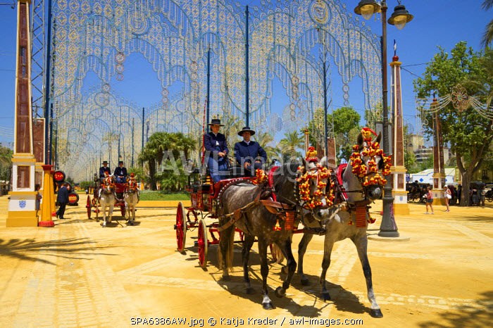 Horse-drawn carriage, Feria del Caballo in Jerez de la Frontera, Andalusia, Spain