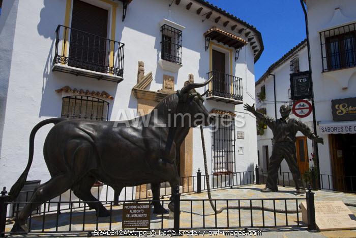 Bull sculpture in Grazalema, Parque Natural Sierra de Grazalema, Andalusia, Spain