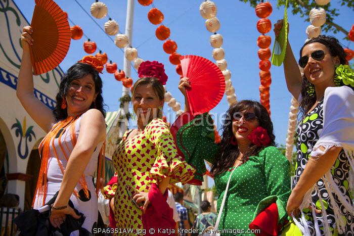 Flamenco dancer, Feria de Abril in Seville,  Andalusia, Spain