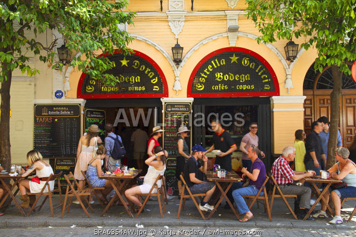 Street cafe in the old town of Seville,  Andalusia, Spain