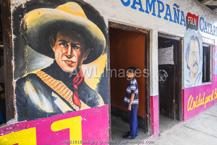 Nicaragua, Granada department, the little town of Catarina, the head quarters of the political party FSLN, Sandino's portrait