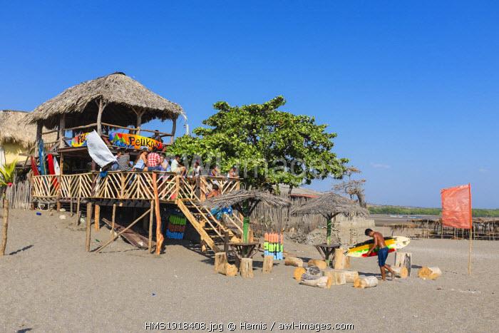 Nicaragua, Leon department, Las Penitas fishing village, the surfers beach