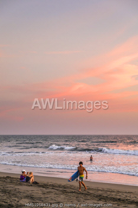 Nicaragua, Leon department, Las Penitas fishing village, sunset on the beach