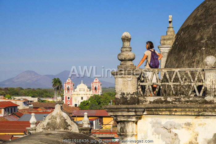 Nicaragua, Leon department, Leon, the terrace of the Cathedral (Bas�lica Catedral de la Asuncion de Leon), listed as World Heritage by UNESCO, view over the church El Calvario and the Cordillera de Maribios