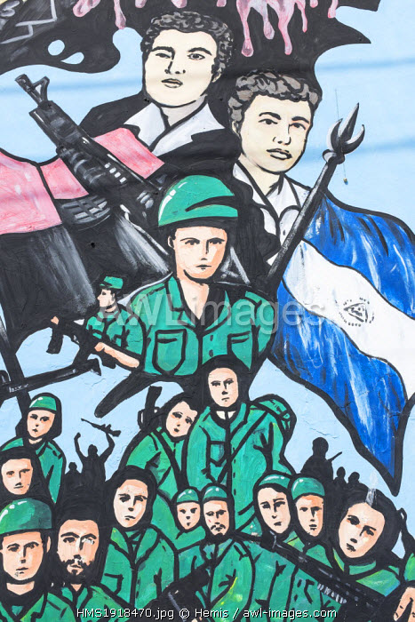 Nicaragua, Leon department, Leon, poainting tribute to the martyrs of the Revolution