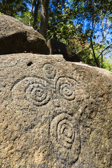 Nicaragua, Rivas department, Ometepe island, on lake Nicaragua (or lake Cocibolca), the petroglyphs of the finca Magdalena, by the Chorotegas and Niquiranos date back to the 4th Century AD