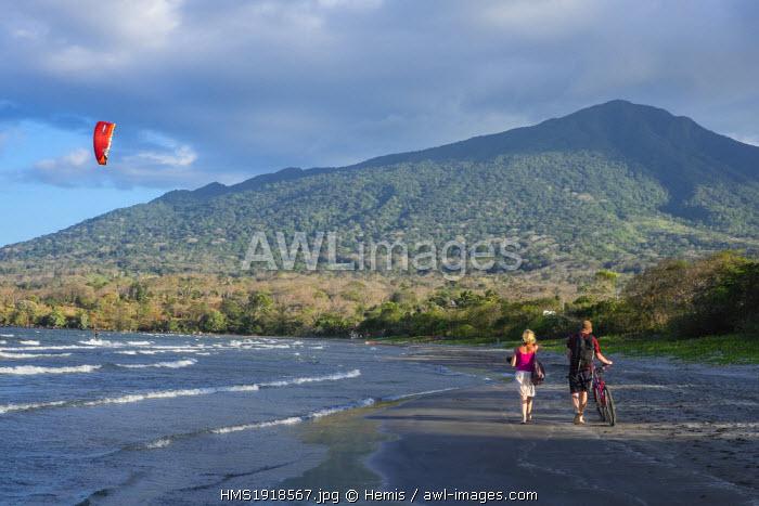 Nicaragua, Rivas department, Ometepe island, the shore of lake Nicaragua (or lake Cocibolca), Santo Domingo beach and volcano Maderas