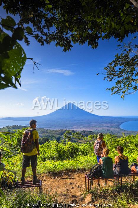 Nicaragua, Rivas department, Ometepe island, the shore of lake Nicaragua (or lake Cocibolca), volcano Concepcion seen from the mirador of volcano Maderas