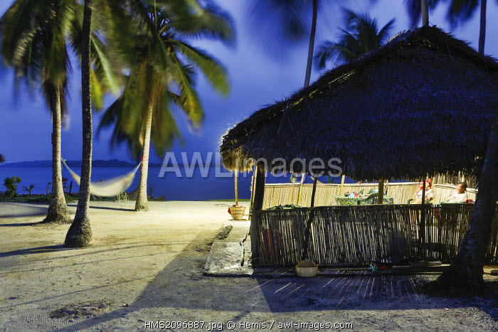 Panama, San Blas archipelago, Kuna Yala, Kunas indigenous community, night landscape of a palm hut on a beach coconut