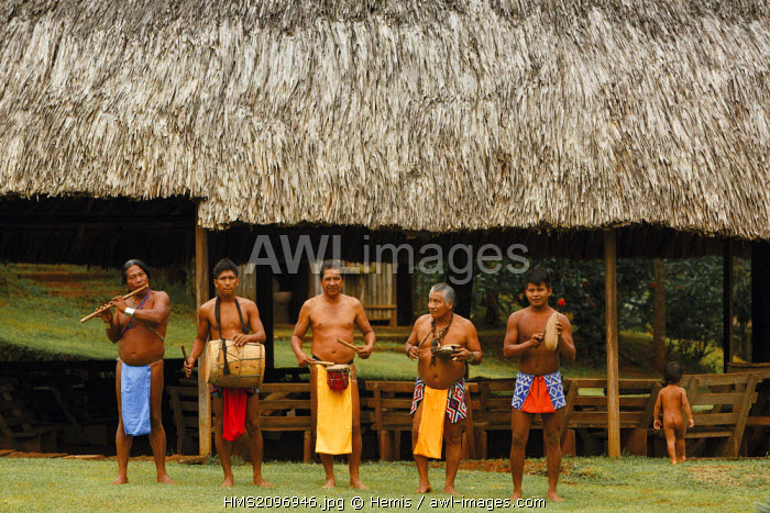 Panama, Darien province, Darien National Park, listed as World Heritage by UNESCO, Embera indigenous community, traditional welcoming committee Embera musicians