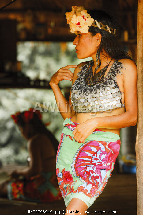 Panama, Darien province, Darien National Park, listed as World Heritage by UNESCO, Embera indigenous community, portrait of an indigenous Embera woman