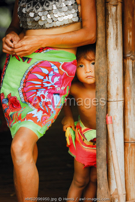 Panama, Darien province, Darien National Park, listed as World Heritage by UNESCO, Embera indigenous community, portrait of a young native boy Embera with his grandmother