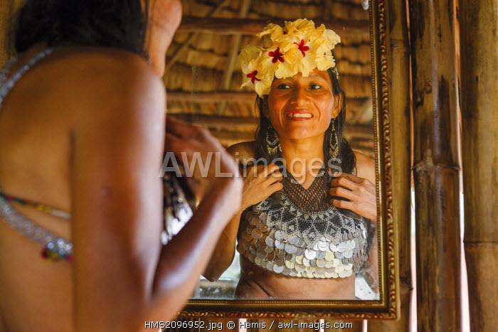 Panama, Darien province, Darien National Park, listed as World Heritage by UNESCO, Embera indigenous community, portrait of an indigenous Embera woman