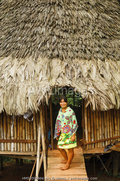 Panama, Darien province, Darien National Park, listed as World Heritage by UNESCO, Embera indigenous community, portrait of a young indigenous Embera girl at the entrance of his house