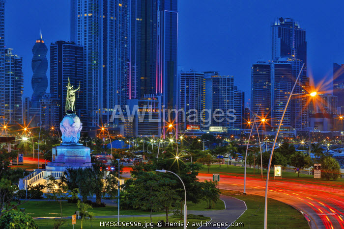Panama, Panama City, Night cityscape of the business district, night view of modern part of Panama City