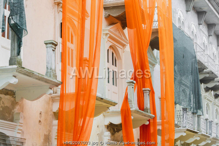 Panama, Panama City, listed as World Heritage by UNESCO, urban landscape of the historic old quarter of Panama City, historic building renovation project