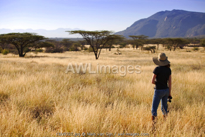 Kenya, Shaba National Park. A young lady looks out over the Shaba landscape. MR.