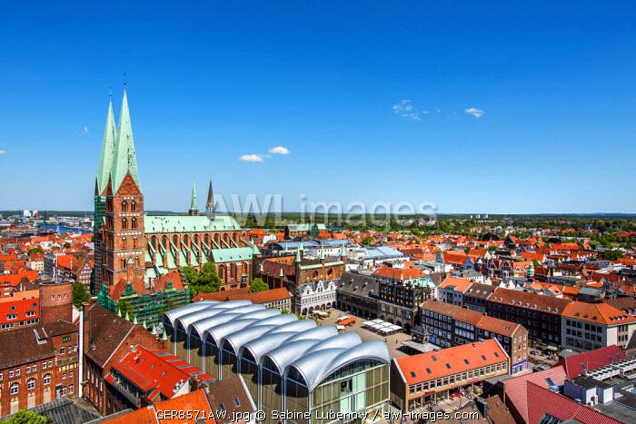 View from St. Petri church towards St. Marien church, Lübeck, Baltic coast, Schleswig-Holstein, Germany