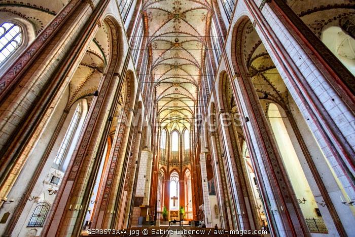 Interior, St. Marien church, Lübeck, Baltic coast, Schleswig-Holstein, Germany