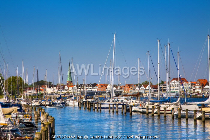 View from marina Priwall towards Travemünde, Lübeck, Baltic coast, Schleswig-Holstein, Germany