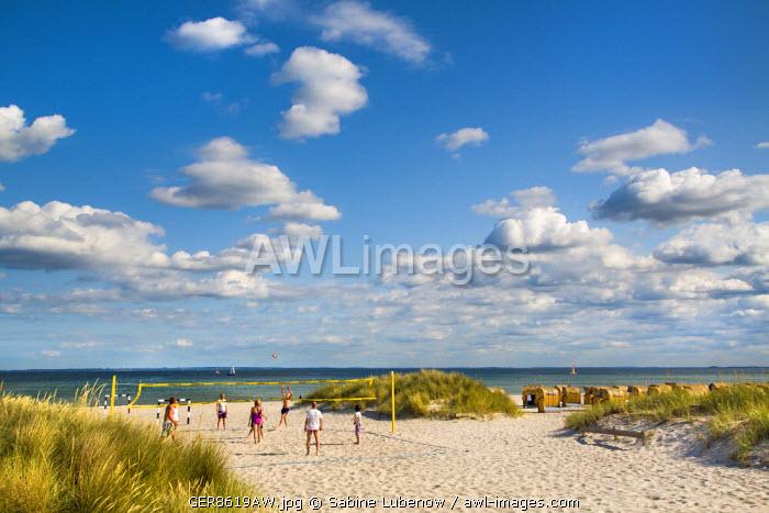 Beachvolleyball in the dunes, Grömitz, Baltic coast, Schleswig-Holstein, Germany