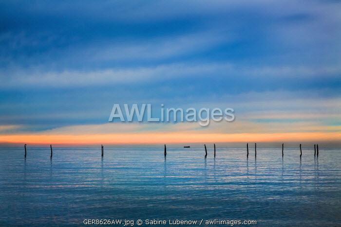 Sunset over the sea, Fehmarn island, Baltic coast, Schleswig-Holstein, Germany