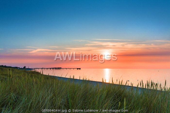 Sunset over the sea, Heiligenhafen, Baltic coast, Schleswig-Holstein, Germany