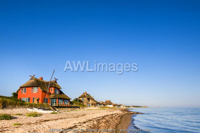 Houses on the beach, Nature reserve Graswarder, Heiligenhafen, Baltic coast, Schleswig-Holstein, Germany