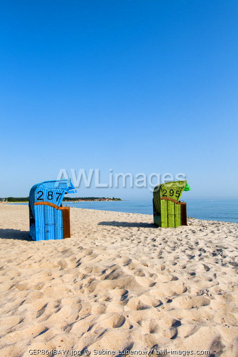 Beach baskets facing the sea, Hohwacht, Baltic coast, Schleswig-Holstein, Germany