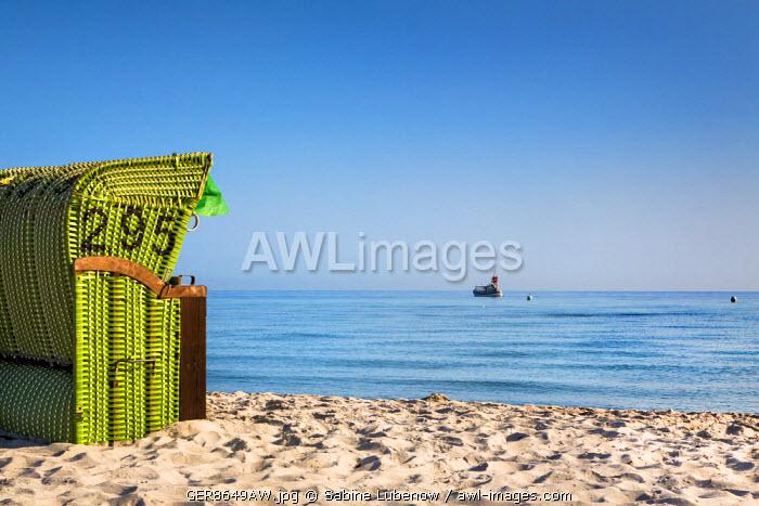 Beach basket facing the sea, Hohwacht, Baltic coast, Schleswig-Holstein, Germany