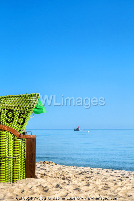 Beach basket facing the sea, Hohwacht, Baltic coast, Schleswig-Holstein, Germany