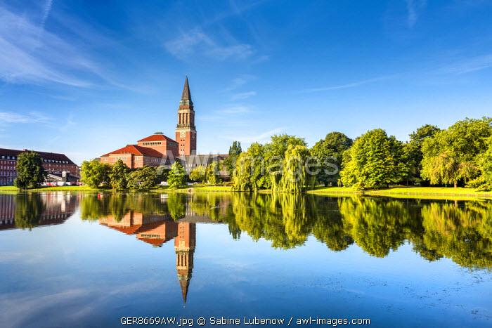 View towards town hall and opera, Kiel, Baltic coast, Schleswig-Holstein, Germany