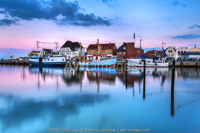 Dusk, marina, Eckernförde, Baltic coast, Schleswig-Holstein, Germany
