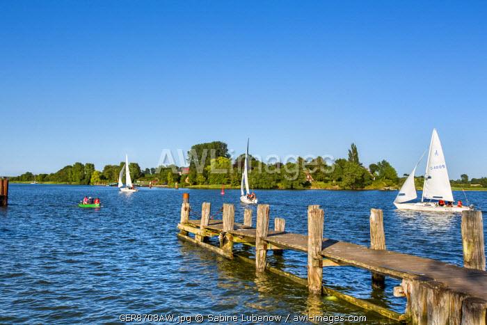 Marina in Arnis, Schlei fjord, Baltic coast, Schleswig-Holstein, Germany