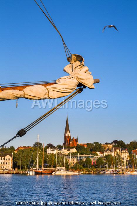 View over Flensburg fjord, Flensburg, Baltic coast, Schleswig-Holstein, Germany
