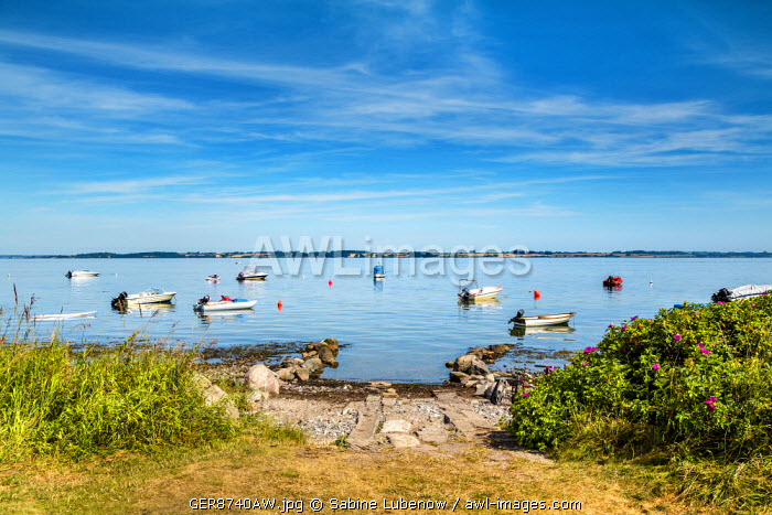 Boats on the sea, Langballigau, Flensburg fjord, Baltic coast, Schleswig-Holstein, Germany