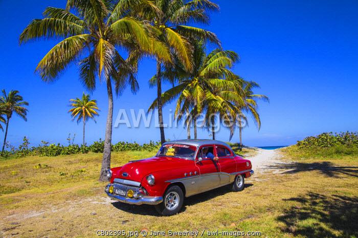 Cuba, Varadero, 50's Buick car on Varadero beach