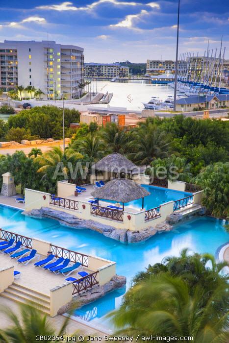 Cuba, Varadero, Cuba, Varadero, View over swimming pool of the Blau Marina Varadero Hotel towards  Varadero Marina and Melia Marina Varadero Hotel