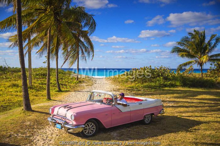 Cuba, Varadero, Pontiac car on Varadero beach