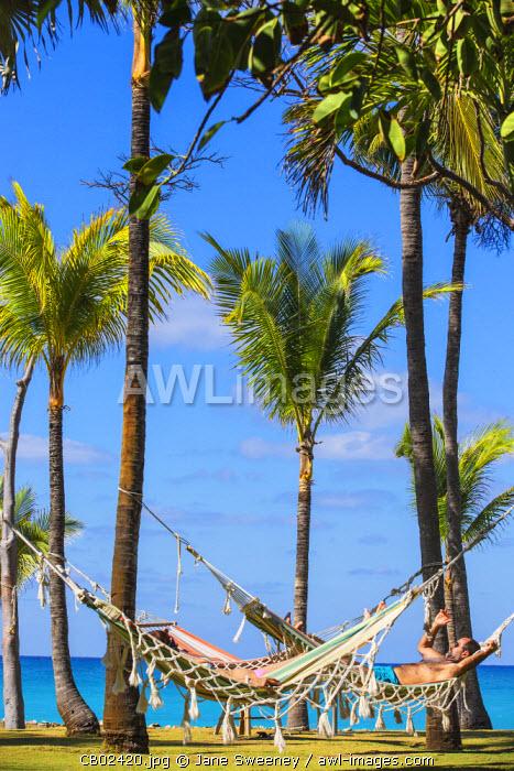 Cuba, Varadero, Couple in hammocks between Palm trees on Varadero beach