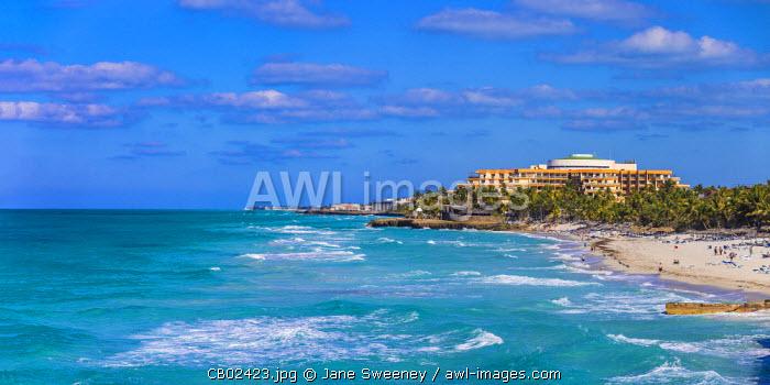 Cuba, Varadero, View of beach and Melia Varadero Hotel
