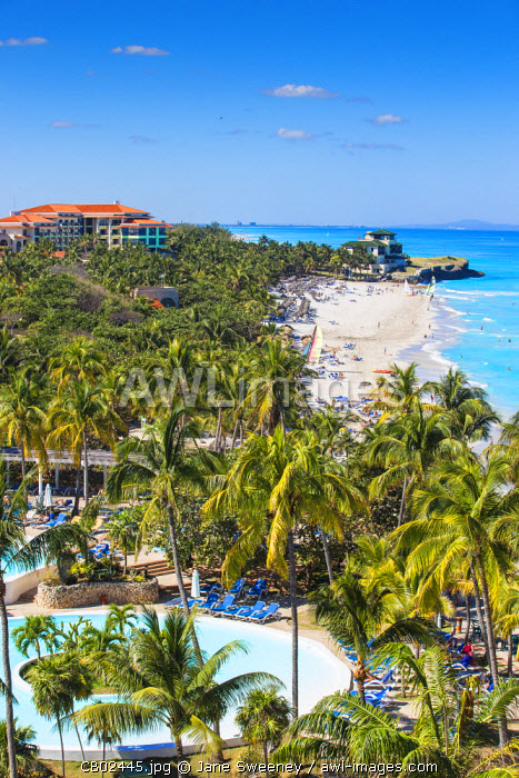 Cuba, Varadero, View over Melia Varadero Hotel swimming pool towards Xanadu mansion