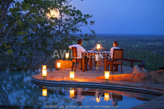 Kenya, Meru National Park, Elsa's Kopje. Romantic dinner for two under a full moon. MR.