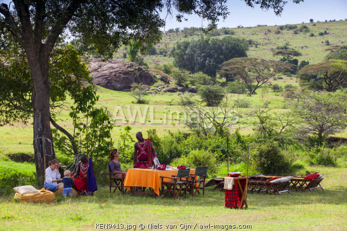 Kenya, Mara North Conservancy. Bush breakfast at Elephant Pepper Camp.