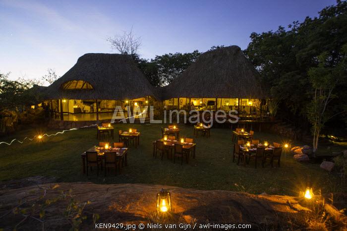 Kenya, Meru. Tables set for dinner at Elsa's Kopje.