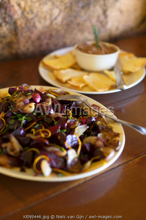 Kenya, Meru. Fresh lunch served at a luxury safari lodge.